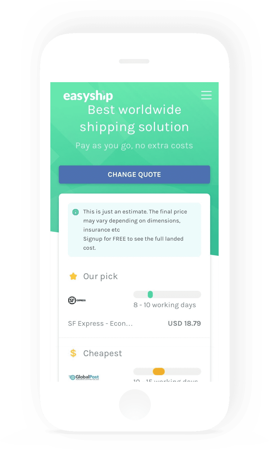 Easyship - mobile app mockup - Monterail Projects