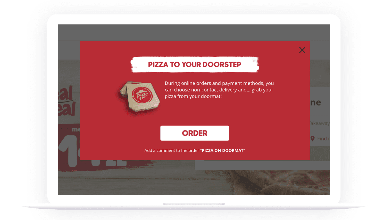 Pizza Hut's new feature - contact-free delivery