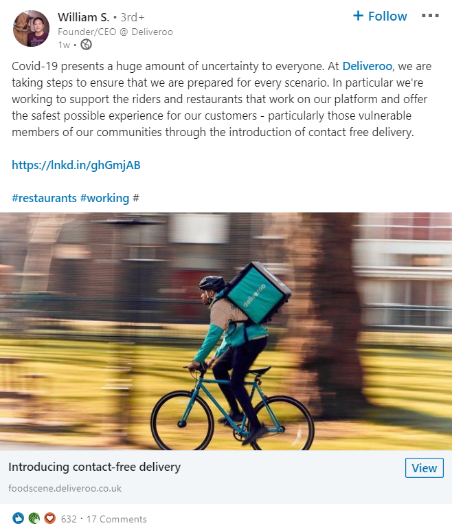 Linkedin William S. Deliveroo Covid-19 2