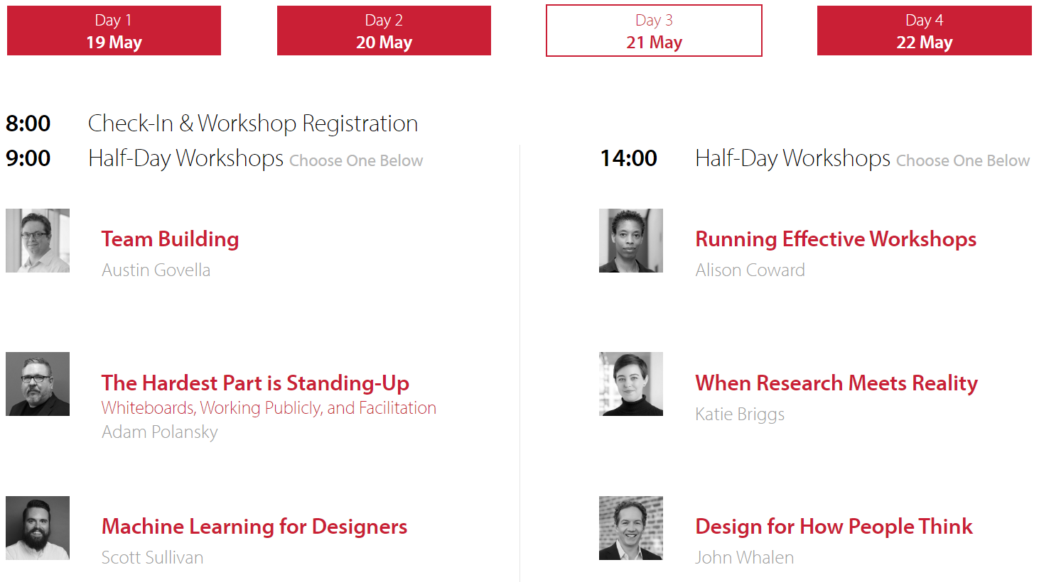 List of workshops for UXLx 2020 conference