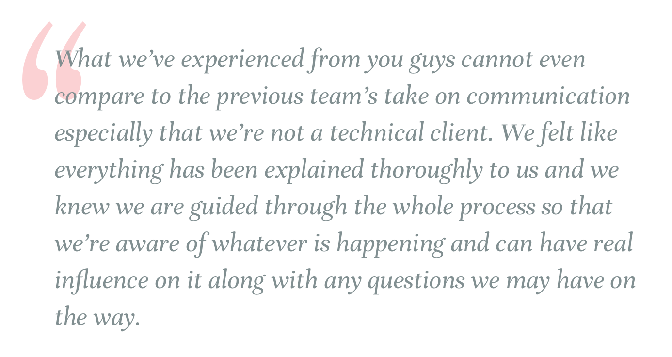 Quote from a client