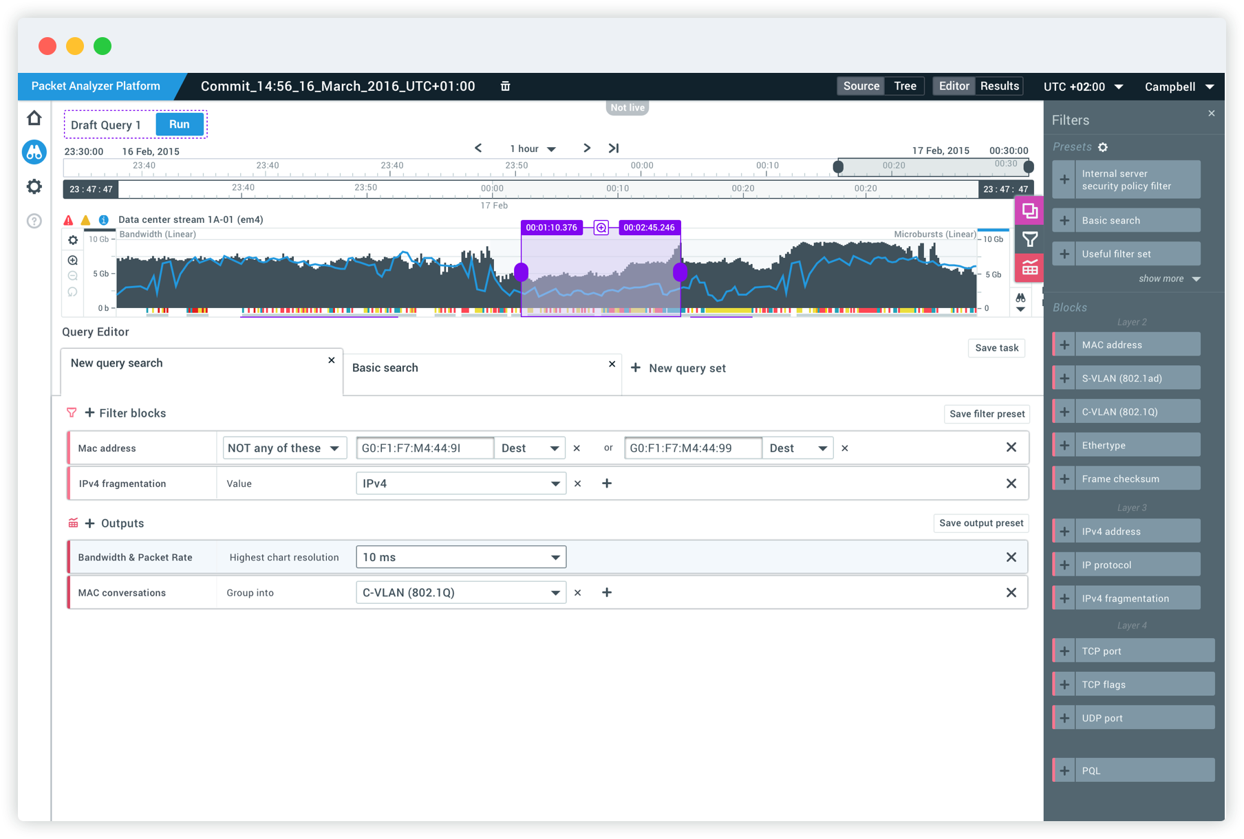 Packet Analyzer Platform mockups