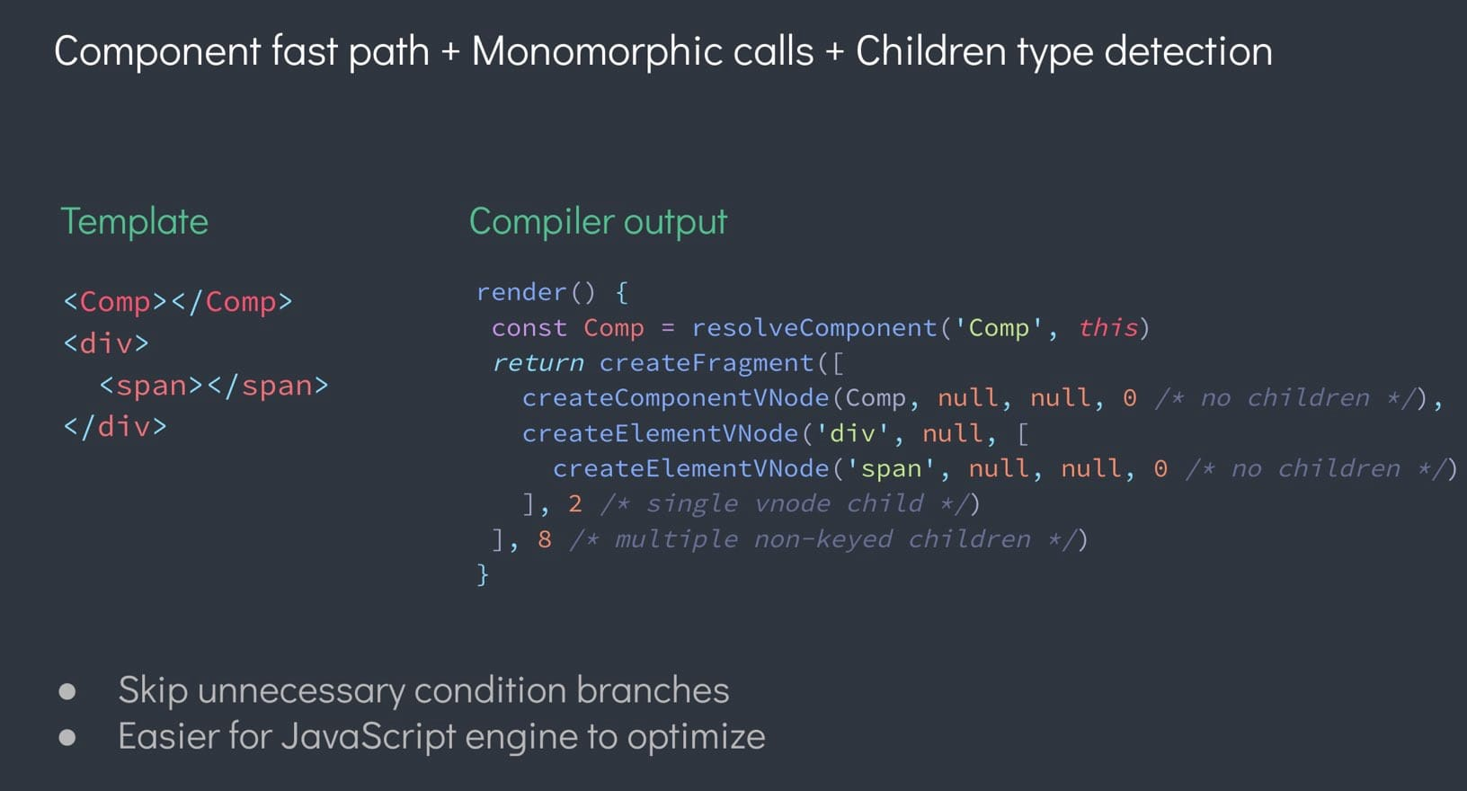 Component fast path in Vue.js development