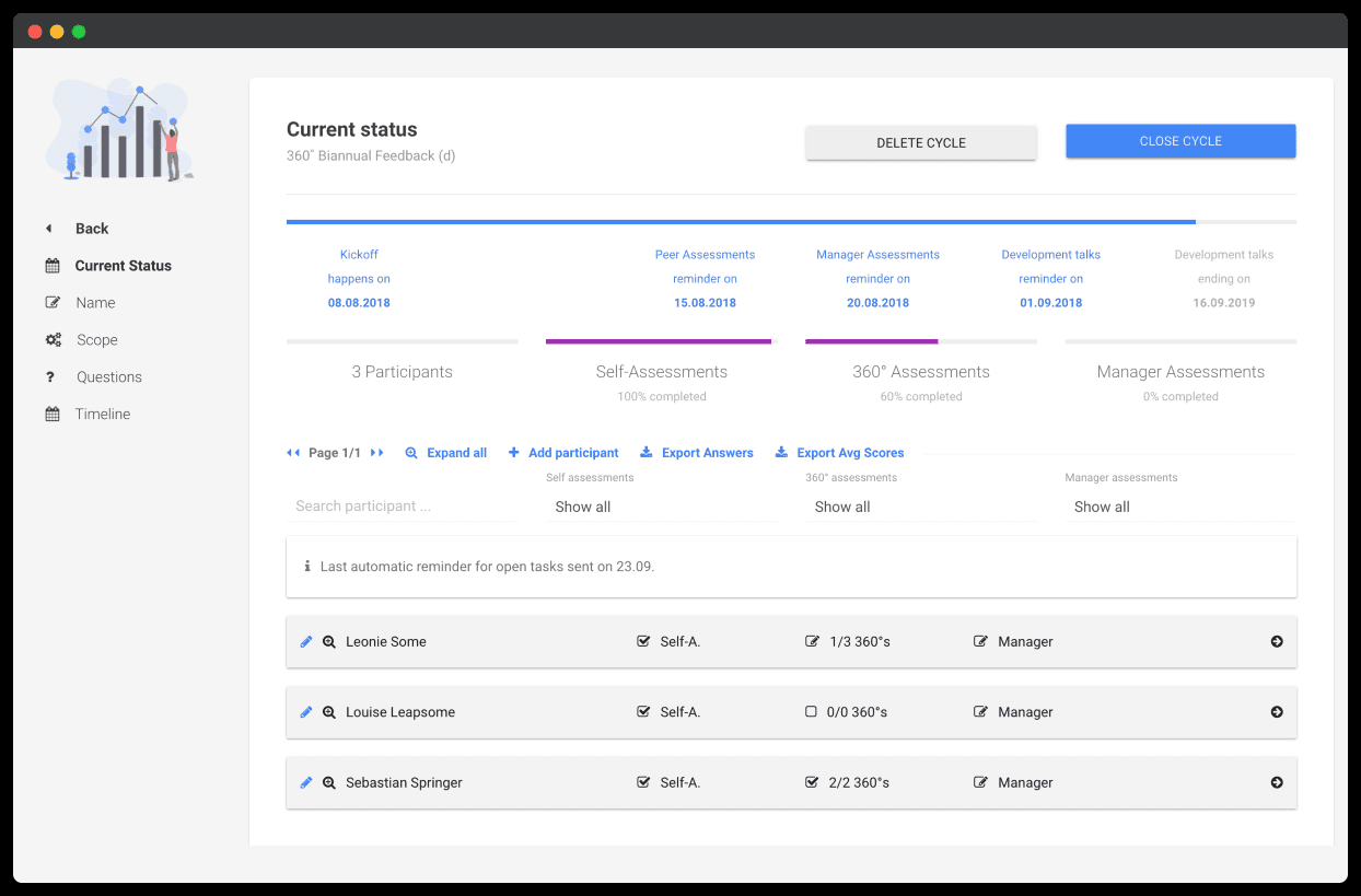 Leapsome dashboard - employee feedback feature