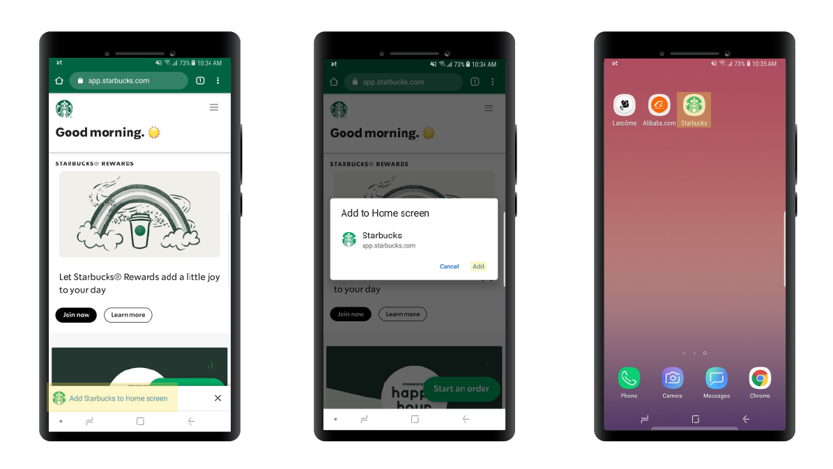 Starbucks PWA installation process