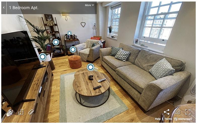a screenshot from a virtual property tool - Matterport