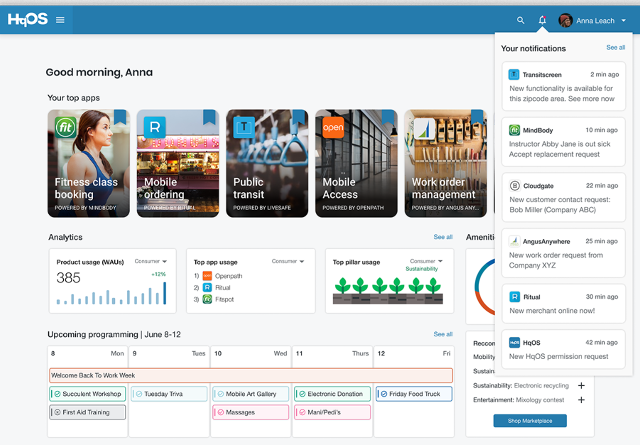dashboard of HqO - an operating system for buildings