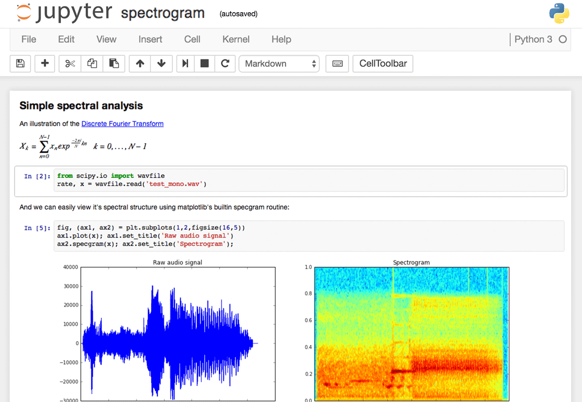 screen of jupyter spectrogram board